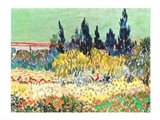 The Garden at Arles, detail of the cypress trees Art Print