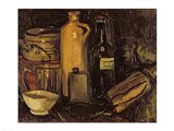 Still life with pots, bottles and flasks Art Print