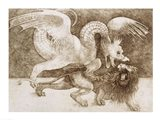 Fight between a Dragon and a Lion Art Print