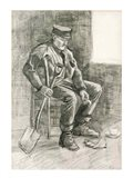 Man with a Spade Resting, 1882 Art Print
