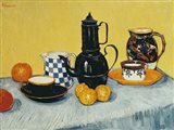 Still Life with Blue Enamel Coffeepot, Earthenware and Fruit Art Print