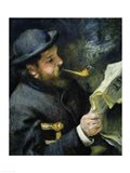 Claude Monet reading a newspaper Art Print
