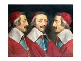 Triple Portrait of the Head of Richelieu, 1642 Art Print