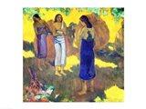 Three Tahitian Women against a Yellow Background, 1899 Art Print