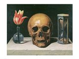 Vanitas Still Life with a Tulip, Skull and Hour-Glass Art Print