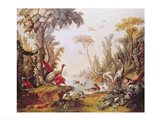 Lake with geese, storks, parrots and herons, from the Salon of Gilles Demarteau Art Print