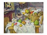 Still life with basket Art Print