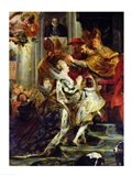 The Medici Cycle: The Coronation of Marie de Medici, detail of the crowning Art Print