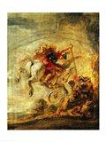 Bellerophon Riding Pegasus Fighting the Chimaera Art Print