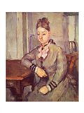 Madame Cezanne Leaning on a Table Art Print