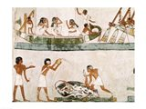 Sacrifice and purification of a bull, and a sailing ritual, from the Tomb of Menna Art Print