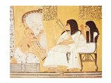 The deceased and his wife listening to a blind harpist Art Print