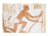 Construction of a wall, detail of a man with a hoe, from the Tomb of Rekhmire Art Print