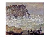 Rough Sea at Etretat, 1883 Art Print