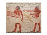 Relief depicting servants carrying a haunch of beef and a duck, from the Tomb of Princess Idut Art Print