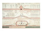 Scene from the Book of Amduat showing the journey to the Underworld Art Print