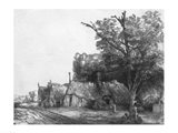 Landscape with Three Cottages, 1650 Art Print
