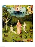 The Garden of Earthly Delights: The Garden of Eden, left wing of triptych, c.1500 Art Print
