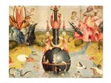 The Garden of Earthly Delights: Allegory of Luxury (yellow horizontal center panel detail) Art Print