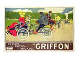 Poster advertising 'Griffon Cycles, Motos & Tricars' Art Print
