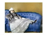 Madame Manet on a Blue Sofa, 1874 Art Print