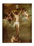Christ attended by angels holding chalices Art Print