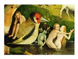 The Garden of Earthly Delights: Allegory of Luxury, central panel of triptych, detail of couple in the water and a bird, c.1500 Art Print