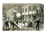 The Federals shelling the City of Charleston: Shell bursting in the streets in 1863 Art Print