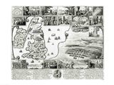 Map of Civil War England and a view of Prague, 1632 Art Print