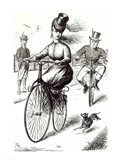 Cartoon of a Lady on a Velocipede, 1869 Art Print