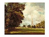 Salisbury Cathedral from Lower Marsh Close, 1820 Art Print