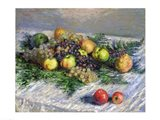 Still Life with Pears and Grapes, 1880 Art Print