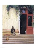 The Artist's Father and Son on the Doorstep of his House Art Print