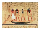 Papyrus depicting a man being transported on a barque to the afterlife Art Print