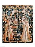Tutankhamun and his wife Ankhesenamun in a garden Art Print
