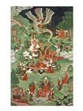 Buddha cutting a tuft of hair, Tibetan temple banner Art Print