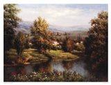 Villa at the River Bank Art Print