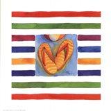 Cabana Stripe Flip Flops Art Print