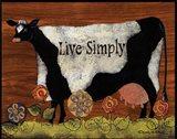 Live Simply Cow Art Print