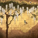 Wisteria with House Finch Art Print