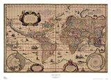 Explorer's World, 1630, Blau Art Print