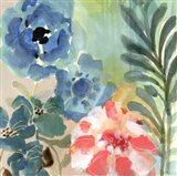 Blue Peach Floral I Art Print