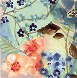 Blue Peach Floral II Art Print