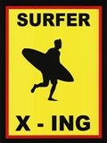 Sign - Surfer Crossing Art Print
