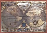 Map of the World-Silver (w/Gold Foil) Art Print