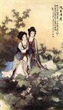 Ladies With Lotus Flowers Art Print