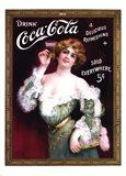 Coca-Cola Lady in Green Dress Art Print