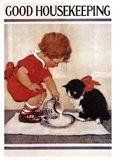 Good Housekeeping Milk And Kitten Art Print