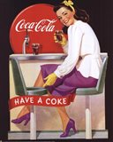 Coca-Cola Lady in Purple Art Print