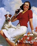 Coca-Cola Lady with Dog Art Print